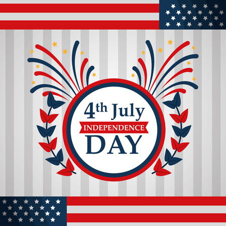 label flags american independence day vector illustration Illustration