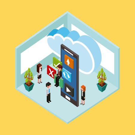 people cloud computing storage smartphone app vector illustration