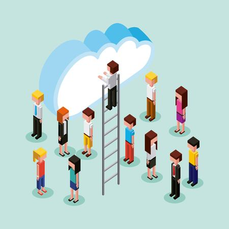 man on stairs and people cloud computing storage vector illustration Illustration