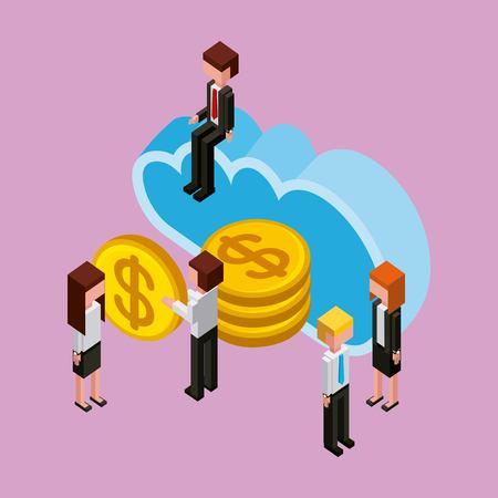 businesspeople cloud computing storage money banking isometric vector illustration