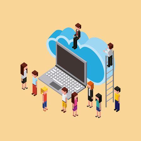 teacher and students cloud computing storage laptop vector illustration