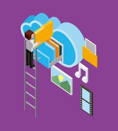 man on stairs cloud computing storage folder music gallery isometric vector illustration