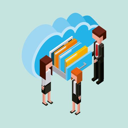 businesspeople cloud computing storage documents isometric vector illustration