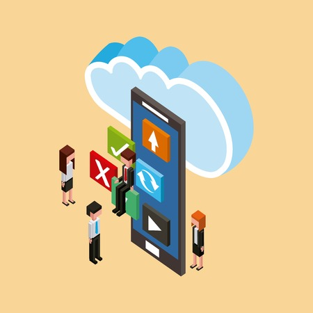 people and smartphone applications cloud computing storage vector illustration
