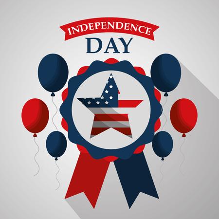 star in rosette balloons flying american independence day vector illustration Illusztráció