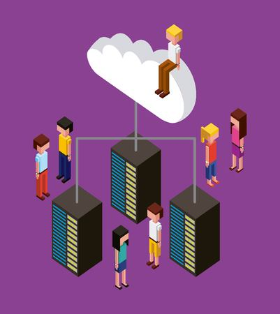 people working creative process connection data cloud upload vector illustration isometric
