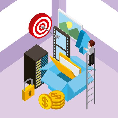 man in stairs database box storage file money security isometric vector illustration