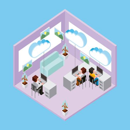 people working in office using laptop connected cloud computing storage vector illustration Illustration