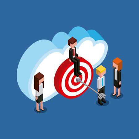 businessman and businesswoman target cloud computing storage isometric vector illustration