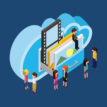 people cloud computing storage drawer photo documents isometric vector illustration