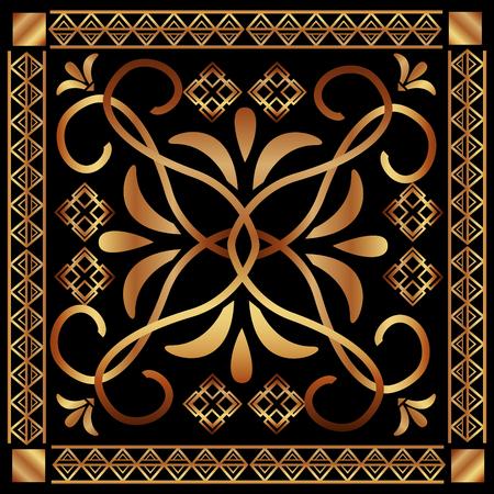 art deco floral vintage ornament classic motif vector illustration