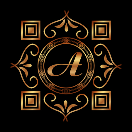 golden monogram a art deco frame geometric abstract vector illustration