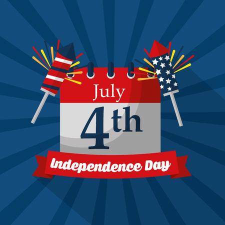 calendar reminder fireworks celebration american independence day vector illustration