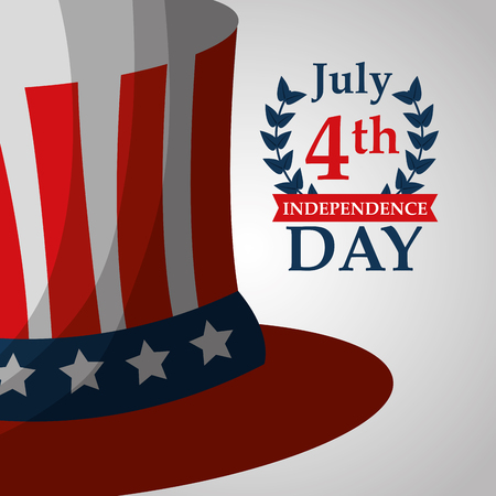 american independence day top hat decoration poster vector illustration