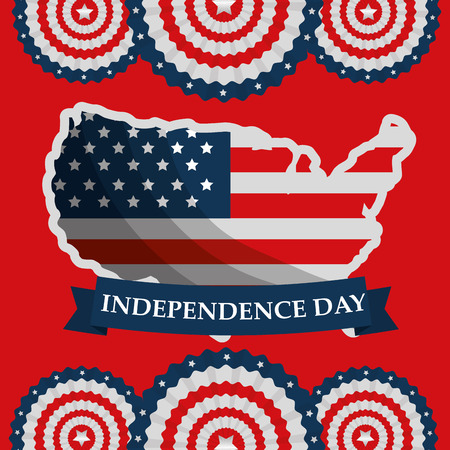 flag on map labels on red bacground american independence day vector illustration Illustration