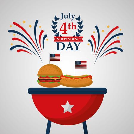 hot dog and burger food american independence day celebration vector illustration