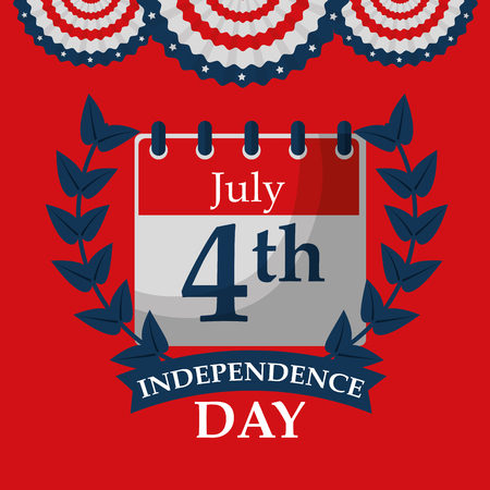 calendar planning american independence day vector illustration