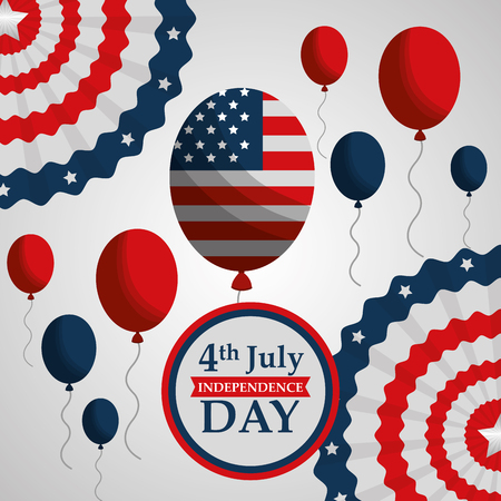 flag balloons decoration party american independence day vector illustration Illustration