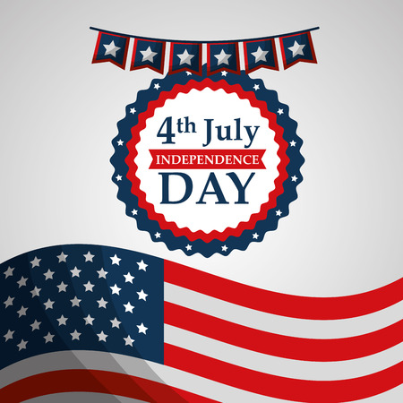 flag label decoration american independence day vector illustration