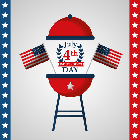 open grill with flags american independence day vector illustration