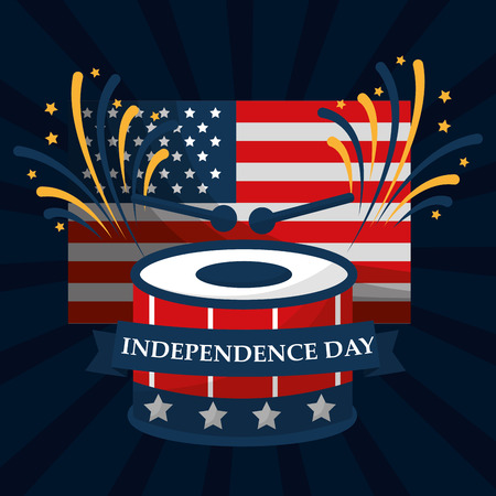 drum music flag fireworks american independence day vector illustration