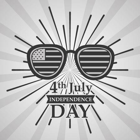 sunglasses with flag sunburst american independence day card vector illustration