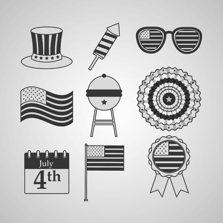 set top hat sunglasses rosette american independence day card vector illustration Illusztráció