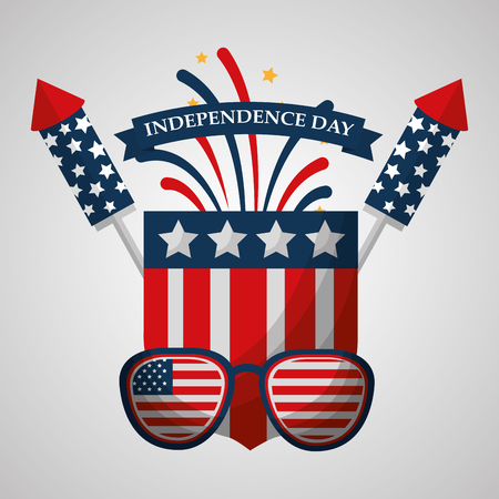 sunglasses and rocket fireworks flag american independence day vector illustration