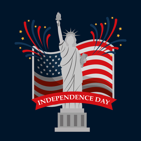 monument statue of liberty flag fireworks american independence day vector illustration