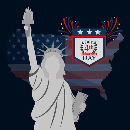 statue of liberty on usa map american independence day vector illustration