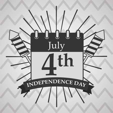 calendar rockets fireworks sunburst american independence day card vector illustration