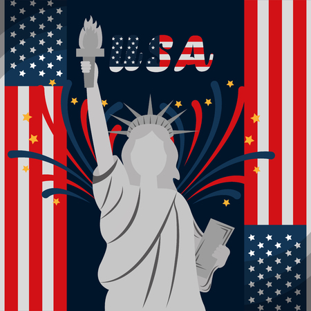 statue of liberty fireworks and flag ornament american independence day vector illustration