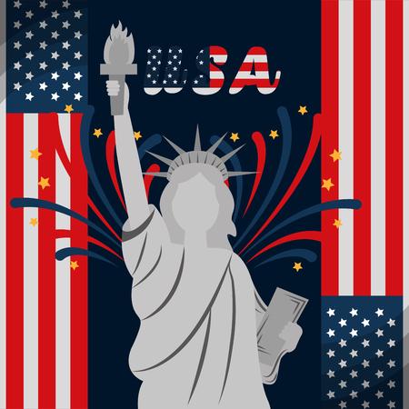 Freiheitsstatue Feuerwerk und Flagge Ornament amerikanischen Unabhängigkeitstag Vektor-Illustration
