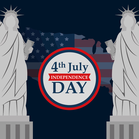 statues of liberty map american independence day vector illustration