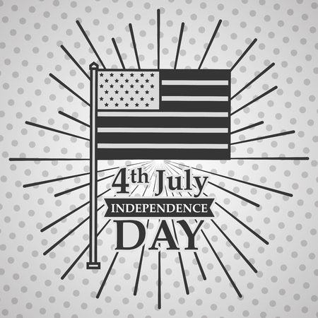 flag in the pole sunburst american independence day card vector illustration 向量圖像
