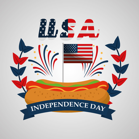 hot dog fireworks banner american independence day vector illustration