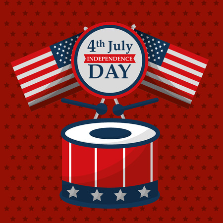 drum sticks music flags american independence day vector illustration Illustration