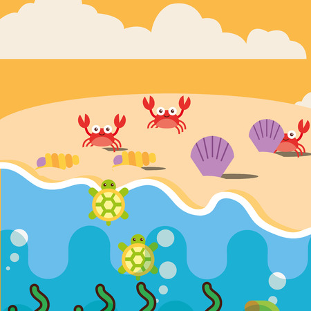 beach crabs clams and turtles ocean sea life vector illustration Illustration