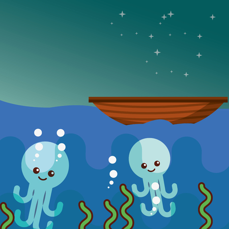 octopus underwater and boat sea life vector illustration