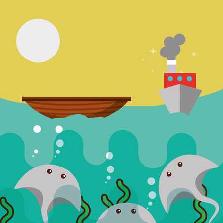 underwater stingrays marine life and boat sailing vector illustration