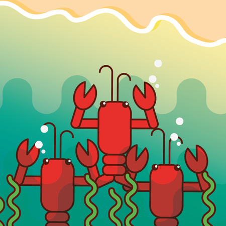 lobsters seaweed underwater sea life vector illustration