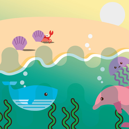 pink dolphin whale jellyfish and beach clam crab sea life vector illustration Illustration