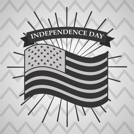 flag american independence day national emblem sunburst vector illustration