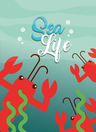 lobsters and seaweed under the sea life vector illustration Ilustracja