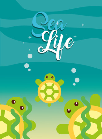 turtles and seaweed under the sea life vector illustration