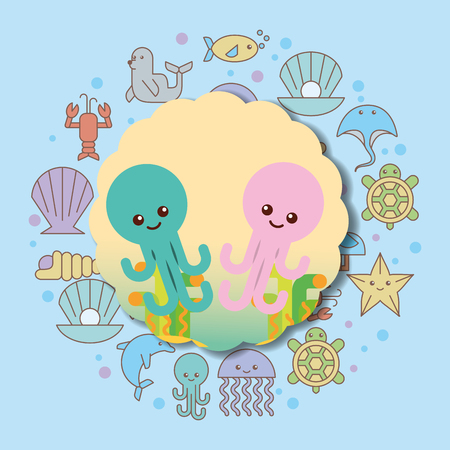 octopuses sea life cartoon animals label vector illustration Illustration