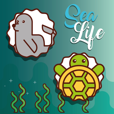 cute turtle and monk seal sea life animals nature vector illustration