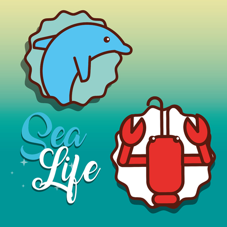 cute dolphin and lobster sea life animals nature vector illustration Illustration