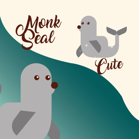 cute monk seal sea life animals nature vector illustration