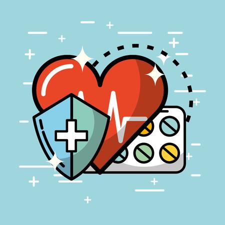 heartbeat cardio pills shield health medical vector illustration